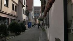 Narrow side street with pedestrian traffic Ulm, Germany Stock Footage
