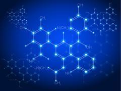Blue technology background & chemical formulas - stock illustration