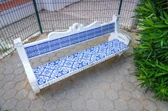 Bench with a typical decoration in Portugal Stock Photos