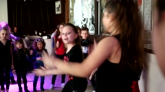 Little girls dancing on a kid disco Stock Footage