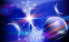 Blue planets & Stars Stock Illustration