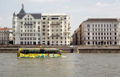 Sightseeing amphibian bus Danube - stock photo