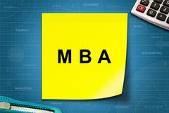 Stock Illustration of MBA or Master of Business Administration word on yellow note