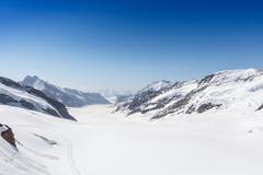 Aletsch Glacier in the Jungfraujoch, Alps, Switzerland - stock photo