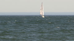 Sailboat in rough waters heading to shore in Toronto Stock Footage