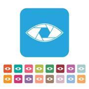 Shutter eye conceptual flat abstract vector icon Stock Illustration