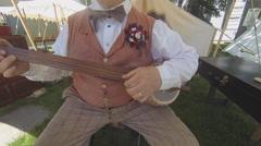Victorian Era Man Playing Banjo Stock Footage