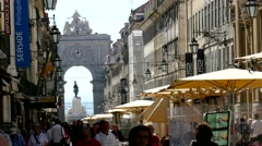 4K Portugal Lisbon Lisboa Tourists at  Augusta street n Arco da Rua Augusta - stock footage