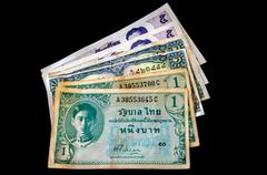 Old bank note of Thailand Stock Photos