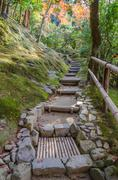 Japanese style garden in Kyoto temple Stock Photos