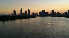 Saigon city and Saigon river sunset Stock Footage