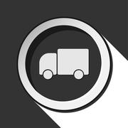 Black icon with lorry car and stylized shadow Stock Illustration