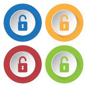 Set of four icons with open padlock Stock Illustration