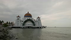 Floating mosque with white color of sky Stock Footage
