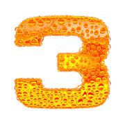 Fresh Orange alphabet symbol - digit 3. Water splashes and drops on transpare Stock Illustration