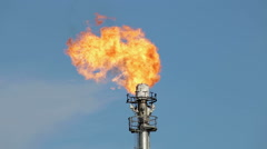 Oil torch, flambeau. combustion of associated gas. - stock footage
