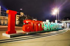 I Amsterdam slogan early in the evening Stock Photos