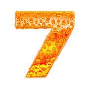 Fresh Orange alphabet symbol - digit 7. Water splashes and drops on transpare Stock Illustration