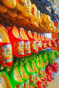 Colourful traditional Dutch wooden shoes Stock Photos
