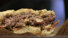 Close-up of a delicious burger in a restaurant Stock Footage