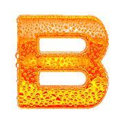 Fresh Orange alphabet symbol - letter B. Water splashes and drops on transpar Stock Illustration