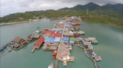 Aerial village on a dock Thailand Stock Footage