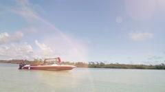 Motorboat on mauritian island Stock Footage
