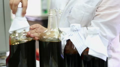 Laboratory analysis of oil Stock Footage