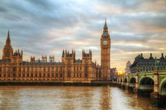 London with the Elizabeth Tower and Houses of Parliament - stock photo