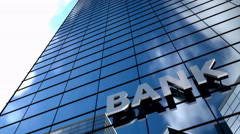 Bank building blue sky timelapse. Stock Footage