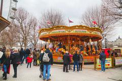 Carousel at the Thames riverbank in London Stock Photos