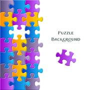 Card with colorful puzzle pieces - stock illustration