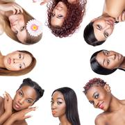 Collage of multiple beauty portaits of women with various skin tones - stock photo