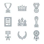 dark color outline various awards symbols icons collection. - stock illustration