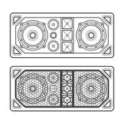professional concert tour array speakers dark contour illustration. - stock illustration