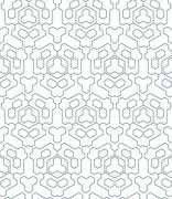 Dark monochrome color triangle outline abstract geometric seamless pattern. Stock Illustration