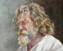 Oil portrait of a man with a bushy white beard Stock Illustration