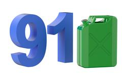 Steel green jerrycan with 91 gasoline Stock Illustration