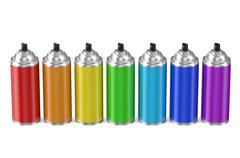 Set of multicolored spray paint cans Piirros