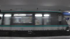 Train leaving from Paris metro/subway station Stock Footage
