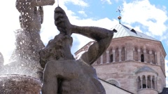 Trento, Italy - Fountain of Neptune (18th Century) in Piazza Dante Stock Footage