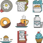 Stock Illustration of Flat color vector icons for breakfast menu