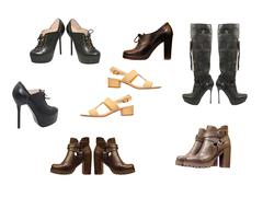 Set of various woman shoes.Isolated. - stock photo