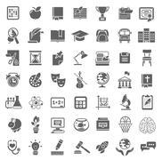 Plain School Icons Monochrome Silhouettes Stock Illustration