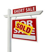 Sold Short Sale Real Estate Sign Isolated - Right Stock Photos