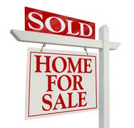 Sold Home For Sale Real Estate Sign - stock photo