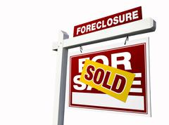 Red Sold Foreclosure Real Estate Sign Isolated on White. Stock Photos