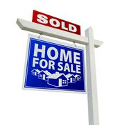 Blue and Red Sold Home for Sale Real Estate Sign on White Stock Photos