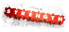 Stock Illustration of Strength - Text on Red Puzzles