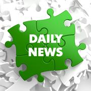 Daily News on Green Puzzle - stock illustration